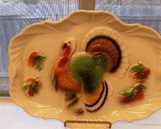 Vintage stoneware turkey platter...gobble, gobble