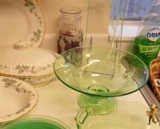 green depression glass pieces