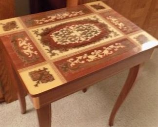 inlay music box accent table