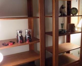 pair matching oak book/display shelve