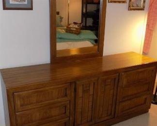 Dixie mid century oak triple dresser and mirror