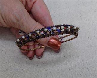 antique 14kt enameled pearl bracelet