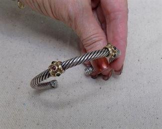 David Yurman Ruby and Emerald 2 station cuff bracelet