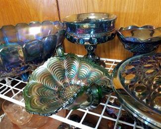 blue Carnival Glass