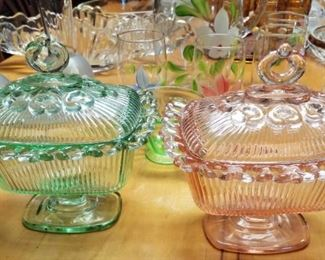 Hocking Depression Glass Vintage Old Colony Pattern Footed Compotes in Pink and Green