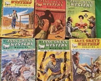 Zane Grey vintage western comic style books