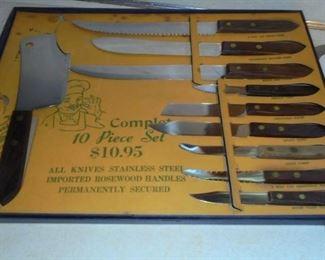 Vintage complete set knives w/rosewood handles in original box