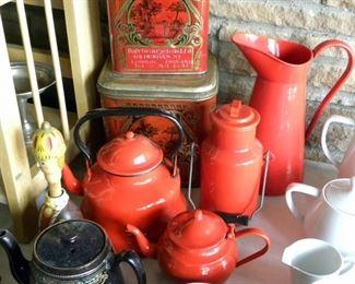 Vintage Red Enameled Kitchenware