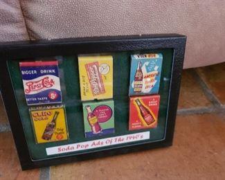 Vintage matchbooks framed.