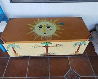 Vintage hand painted childrens trunk.