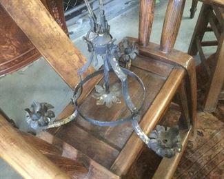 Hanging iron candlabra