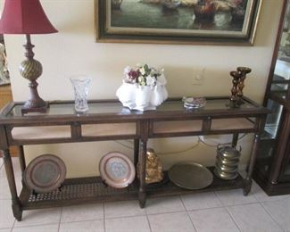 """Oversized Console Table, Glass Inserts, Cane Shelf & Display Compartment with Front-Drop Opening + Key.  Size:  72"""" X 15"""""""