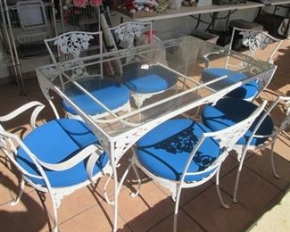 Gorgeous Vintage Wrought Iron Table/6-Chairs, Glass Top & Upholstered Seats