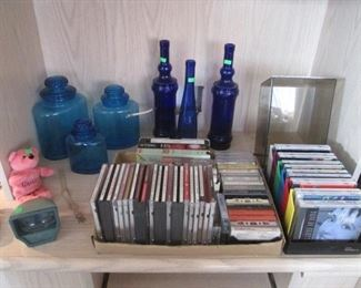 Cobalt Blue Bottles, Set of 3-Colored Glass Apothecary Jars, CD's, Cassettes & VHS's