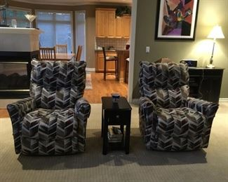 . . . I love these two matching side chairs complimented by a nice end table