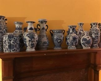 Very large selection of blue and white pottery.