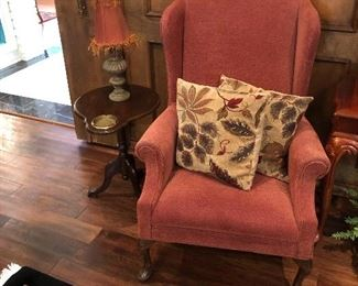 Wing Chair and small ash tray table with lamp