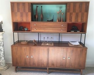 Large Wall Unit or Room Divider--Walnut and Rosewood--Awesome Mid-Century Piece! also 4-Foot Marble Pedestal w/cast Sculpture (Horned Moses?)