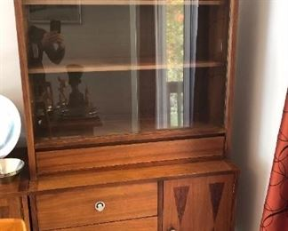 Walnut & Rosewood China Cabinet--Sliding Glass, Three-Drawer, Single-Door