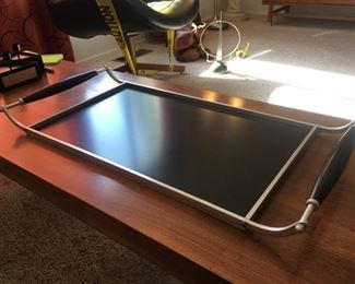 Super Mid-Century Chrome and Lacquer Serving Tray
