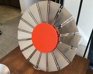 """Unmarked Stainless and Painted Wood """"SUN""""? w/Stand"""