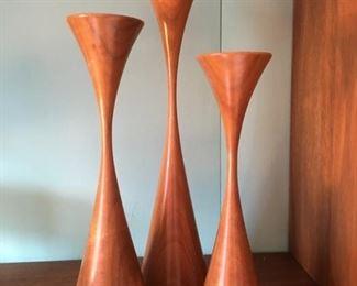 3-Piece Set of Rosewood, Danish Modern like Candle Holders