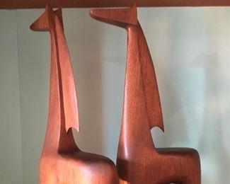 Pair of MCM Carved Giraffes