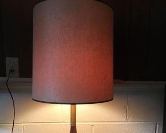 Mid-Century Modern Teak? and Stainless Base Lamp