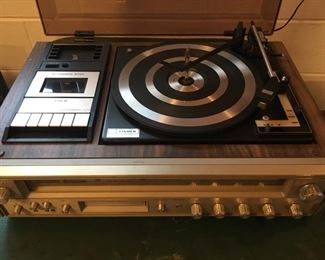 60's Fisher Entertainment Console & Speakers--w/8-Track, Cassette Player, AM/FM (works), and 3-Speed Turntable --Plus Original Booklet