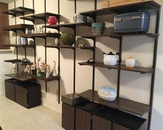 Fantastic MCM Wall Unit--9 Mounting Rods, 22 Shelves, 66 Brackets, Two Cabinets--Unlimited Configurations