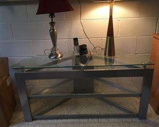 Glass/Metal, 3-Shelf, Corner Table for Flat Screen TV