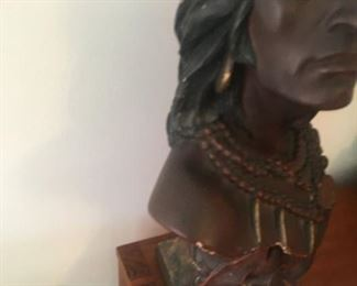 Lifesize? Bust of HIAWATHA--unknown media--sorry for poorly framed photo--will update asap. Price tag is for furniture not Hiawatha.