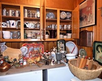 Farmhouse, Primitive, Country Items including vintage Pewter items