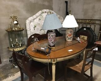 Padded headboard, brass bed, table with two large leaves!