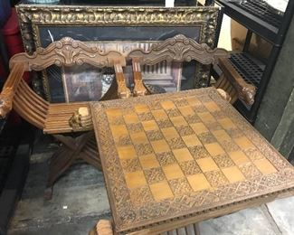 Vintage Florentine game table and chairs