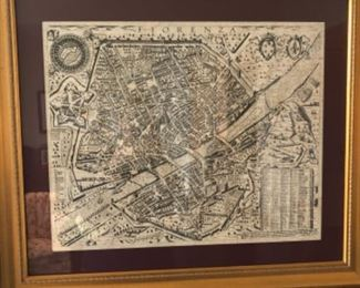 Framed antique map of Florence, Italy