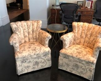 "Pair of upholstered scalloped back chairs. Chairs shown with metal base marble top round table. Table is 17"" dia. X 27.5"" H"
