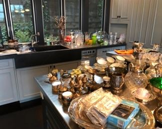 Sliver, silver plate and entertaining pieces