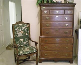 Fabulous While 9 drawer tall boy and Heckman chair with cane seat  (with cushion), upholstered back.