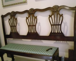 Queens sized head board, small asian  bench with upholstered top