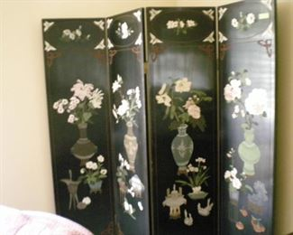 Asian carved lacquer 4 panel screen