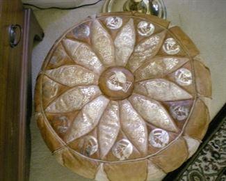 Leather pouf ottoman