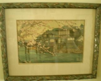 Hiroshi Yoshida wood block print in beautiful frame