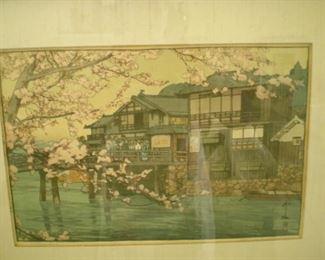 Hiroshi Yoshida Woodblock print in beautiful frame