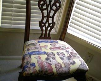 Nice chair with dog fabric