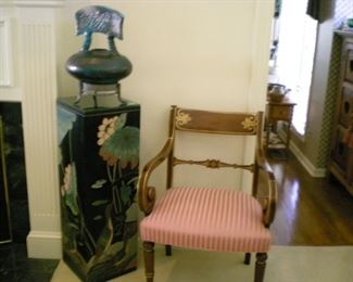 Lots of lovely chairs, a carved lacquer Asian pedestal and a contemporary Asian decorative pot