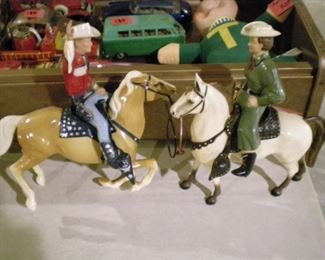Vintage Dale Evans and Roy Rogers figurines on horseback