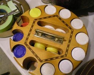 Vintage Poker Set with inlaid wood