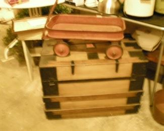Another beautiful trunk and an antique American Beauty toy wagon