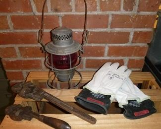 Antique Adlake-Kero, Union Pacific RR lamp, model 3-41, some vintage tools & Lineman Gloves